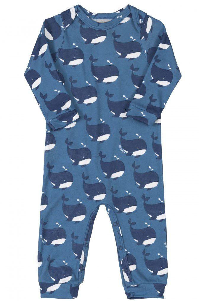 Macacão Manga Longa + Bandana Baleia Azul Algodão Suedine