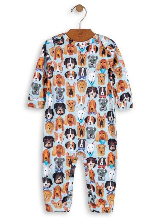 Macacão Manga Longa Cachorrinhos Azul Algodão Suedine - Up Baby