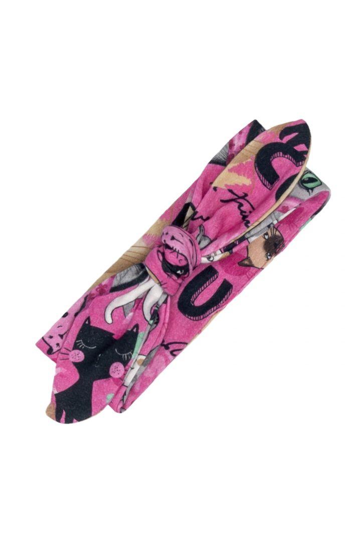 Macacão Manga Longa e Faixinha de Cabelo de Gatinhos Pink Algodão Suedine