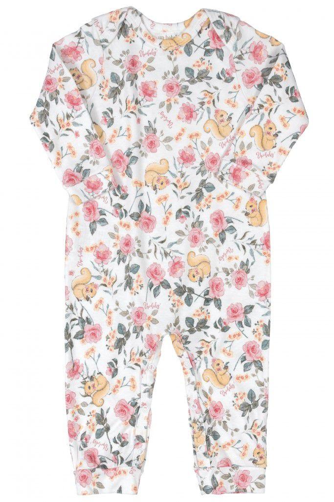 Macacão Manga Longa Faixinha de Cabelo Floral Branco Algodão Suedine - Up Baby