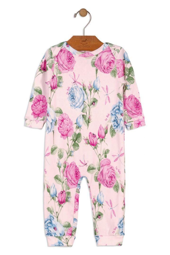 Macacão Manga Longa Floral Rosa Algodão Suedine - Up Baby