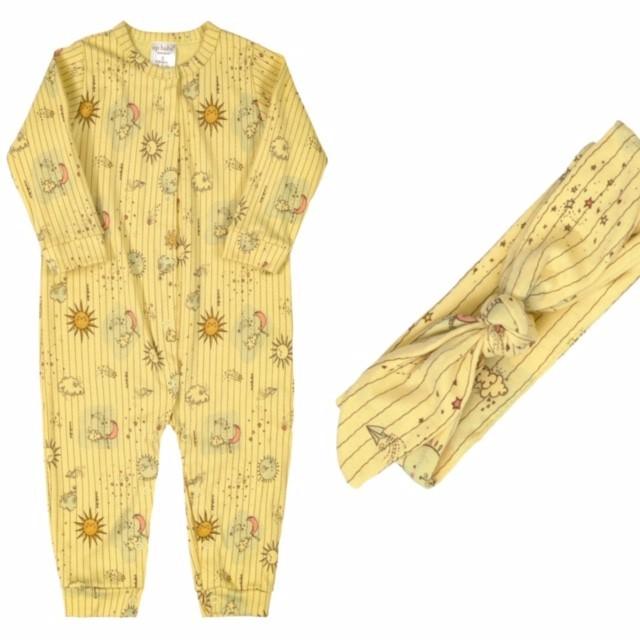 Macacão Manga Longa + Faixinha de Cabelo Sol Amarelo Algodão Suedine Up Baby