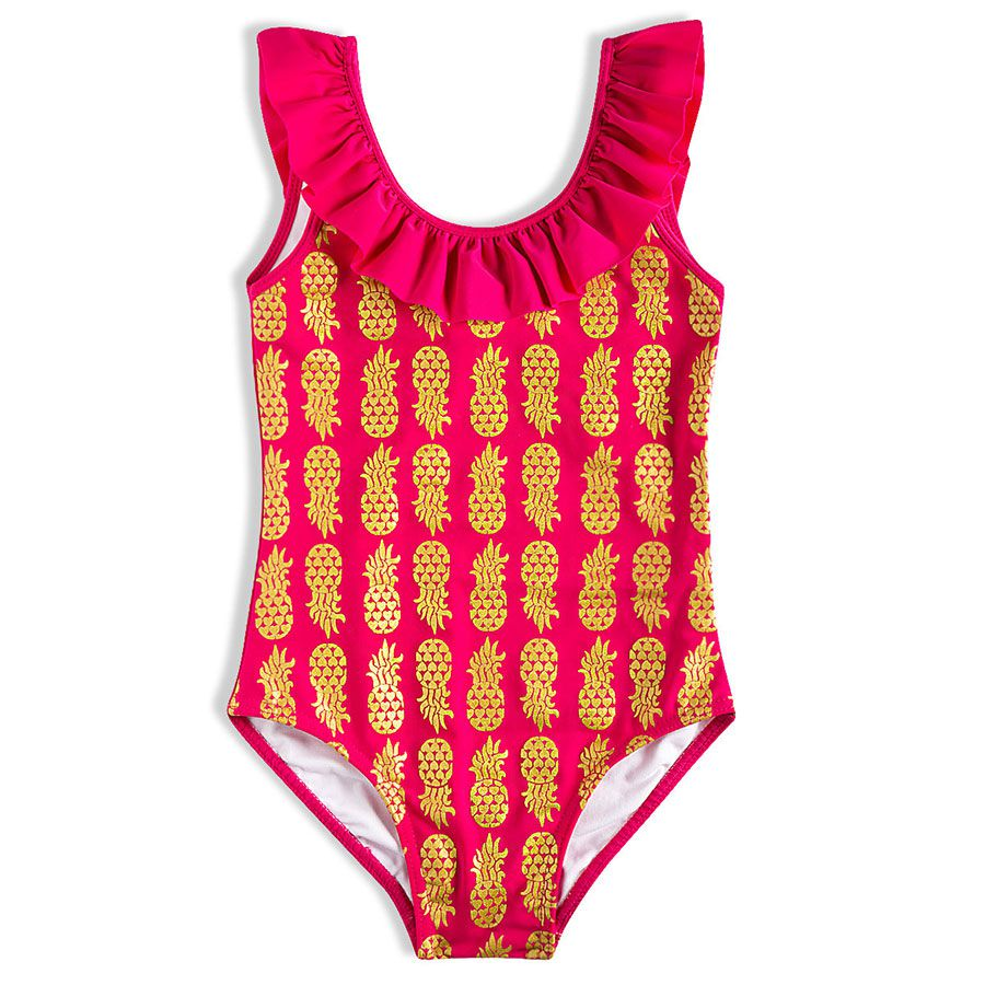 Maiô  Abacaxi Com Babadinhos Bebê Menina Infantil Rosa Pink FPS 50+ - Tip Top