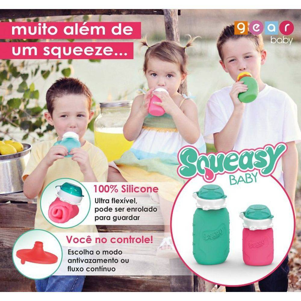 Squeasy Baby Alimentador Super Flexível de Silicone Verde Água - 782