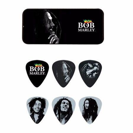 Kit 6pçs Palheta Dunlop Silver Portrait Média Bob Marley