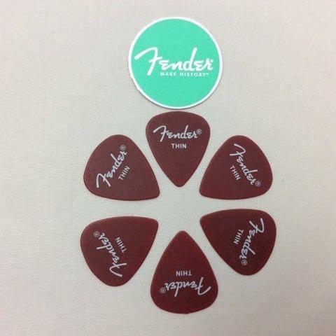 Kit Pacote 6pçs Palheta Fender California Thin Vermelha!