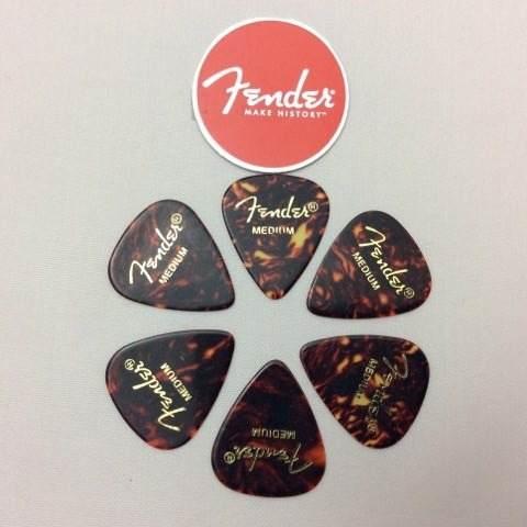 Kit Pacote 6pçs Palhetas Fender Shell Medium Tradicional