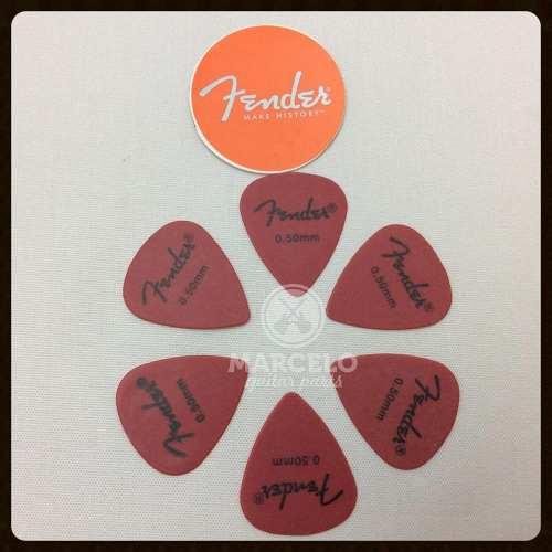 Kit Pacote 6pçs Palheta Fender Pick 0,50mm Thin