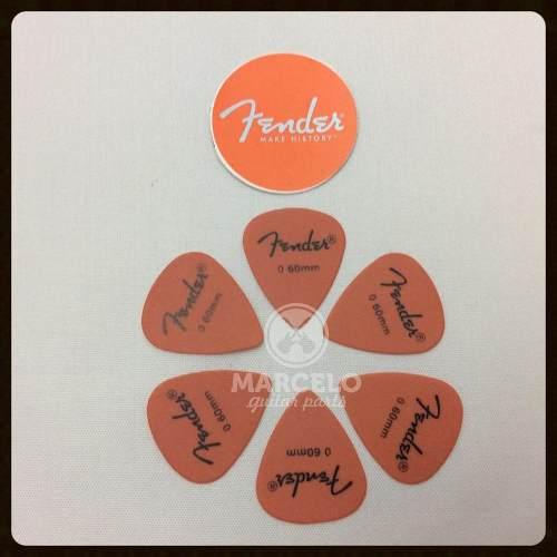 Kit Pacote 6pçs Palheta Fender Pick 0,60mm Thin Medium