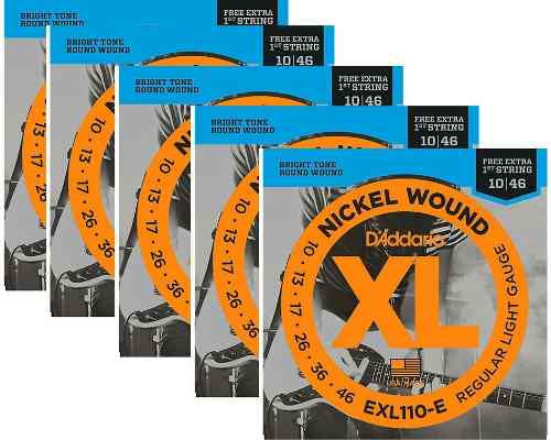 Kit 5sets Encordoamento Guitarra D Addario Exl 110b 010/046