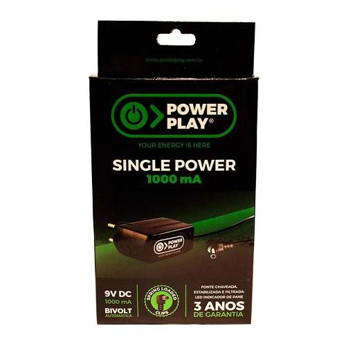 Fonte Power Play Single Power P/pedais 9v Dc 1000ma