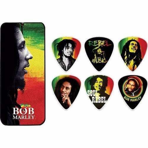Kit 6pçs Palheta Dunlop Bob Marley Rasta Grossa Lata