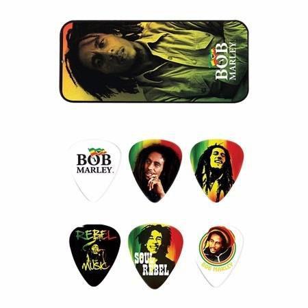 Kit 6pçs Palheta Dunlop Bob Marley Rasta Média Lata
