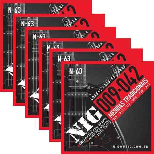 Kit 6sets Encordoamento Guitarra 009/042 Nig