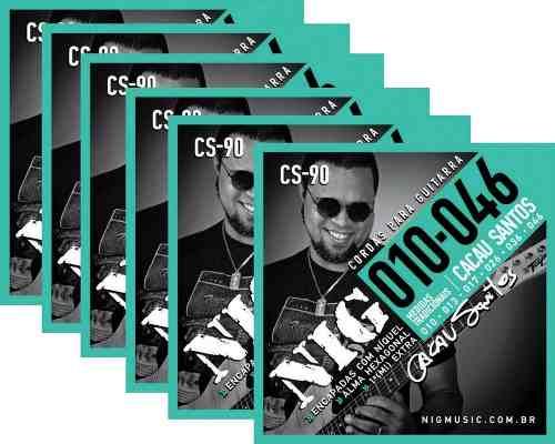 Kit 6sets Encordoamentos Guitarra 010/046 Nig Cacau Santos