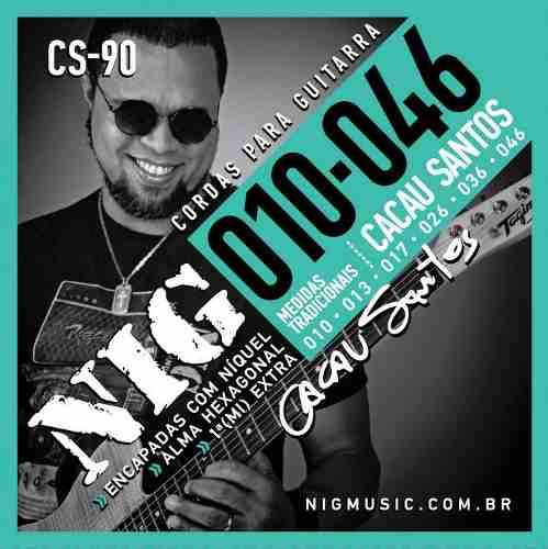 Kit 5sets Encordoamento Guitarra 010/046 Nig Cacau Santos