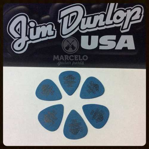 Kit Pacote 6pçs Palheta Dunlop Tortex Standard 1.0mm Azul