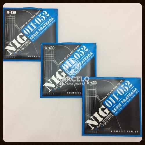 Kit 3sets Encordoamento Violão Nig 011/52 Aço