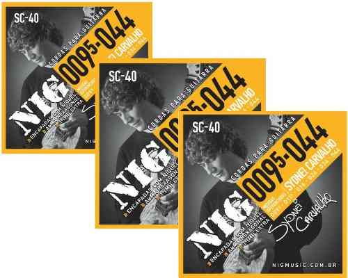 Kit 3sets Encordoamento Guitarra 095/044 Nig Sydnei Carvalho