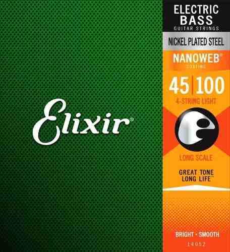 Encordoamento Baixo 4 Cordas Elixir 045-100 Nanoweb Light
