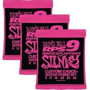 Kit 3sets Encordoamento Guitarra Ernie Ball 09/42 Slinky Rps