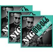 Kit 3sets Encordoamento Guitarra 010/046 Nig Cacau Santos