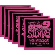 Kit 6sets Encordoamento Guitarra Ernie Ball 09/42 Slinky Rps
