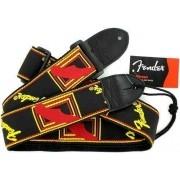 Correia Fender Monograma Preta Com Logo Amarelo/vermelho!
