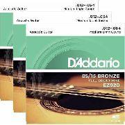 Kit 3sets Encordoamento Violão Aço D'addario 012/54 Ez 920