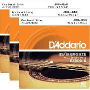 Kit 3sets Encordoamento Violão Aço D'addario 010/050 Ez 900