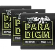Kit 3sets Encordoamento Guitarra Ernie Ball Paradigm 010/046