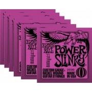 Kit 6jg Encordoamento Guitarra Ernie Ball 11/48 Power Slinky 2220