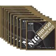 Kit 10sets Encordoamento Violão Nig 010/50 Aço N-500