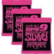 Kit 3sets Encordoamento Guitarra Ernie Ball 09/42 Slinky Rps