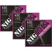 Kit 3sets Encordoamento Guitarra 012/054 Nig