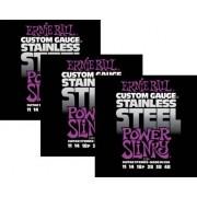Kit 3sets Encordoamento Guitarra Ernie Ball 011/48 Stainless