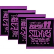 Kit 4sets Encordoamento Guitarra Ernie Ball 11/48 Slinky Rps 2242