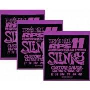 Kit 3sets Encordoamento Guitarra Ernie Ball 11/48 Slinky Rps 2242