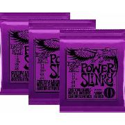 Kit 3jg Encordoamento Guitarra Ernie Ball 11/48 Power Slinky