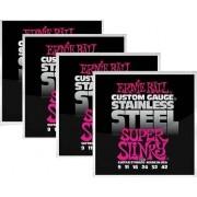 Kit 4sets Encordoamento Guitarra Ernie Ball 009/42 Stainless