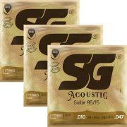 Kit 3sets Encordoamento Violão SG 010-047 Bronze 85/15 Light