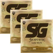Kit 3sets Encordoamento Violão SG 011-052 Bronze 85/15 Custom Light