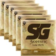 Kit 6sets Encordoamento Violão SG 010-047 Bronze 85/15 Light