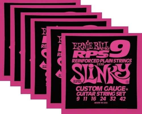 Kit 6sets Encordoamento Guitarra Ernie Ball 09/42 Slinky Rps