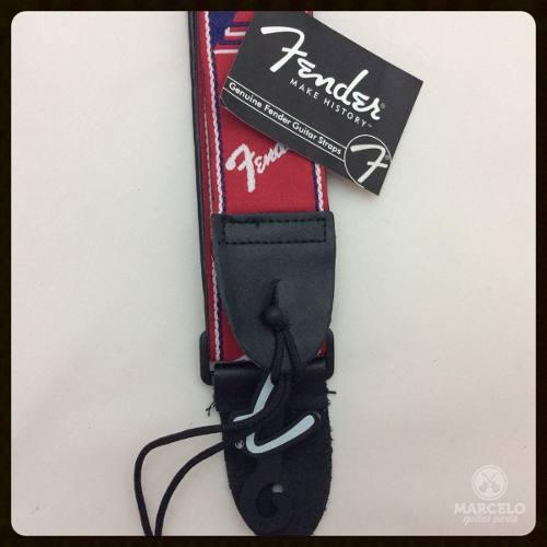 Correia Fender Monograma Vermelha Com Logo Branco/azul!