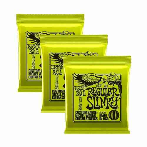 Kit 3jgs Encordoamentos Guitarra Ernie Ball 010/046