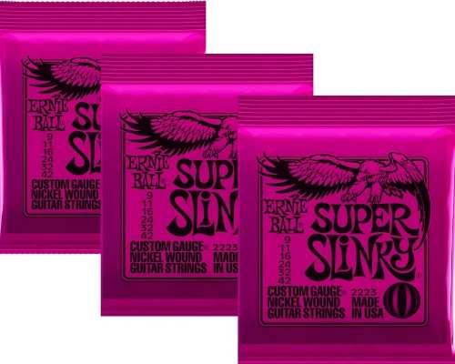 Kit 3jg Encordoamento Guitarra Ernie Ball 09/42 Super Slinky