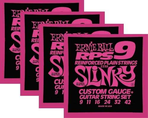 Kit 4sets Encordoamento Guitarra Ernie Ball 09/42 Slinky Rps