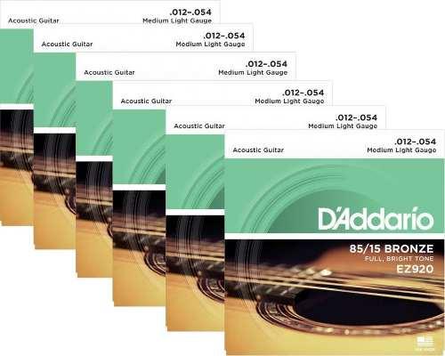 Kit 6sets Encordoamento Violão Aço D'addario 012/54 Ez 920