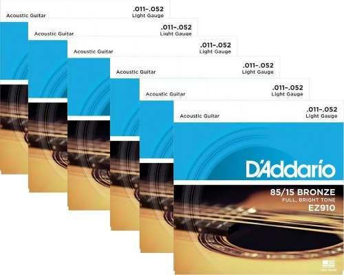 Kit 6sets Encordoamento Violão Aço D'addario 011/52 Ez 910b